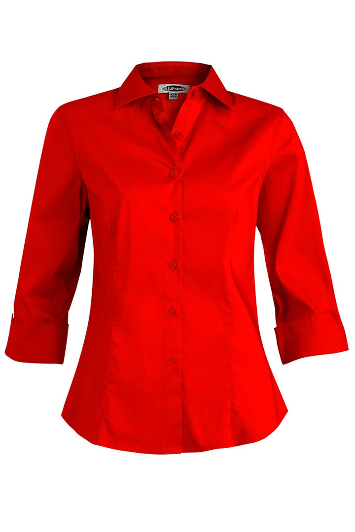 Women's Red Tailored Full-Placket Stretch Blouse