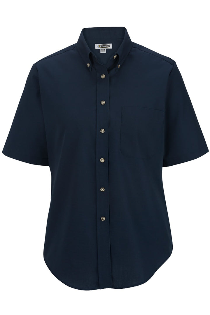 Women's Navy Easy Care Short Sleeve Poplin Shirt