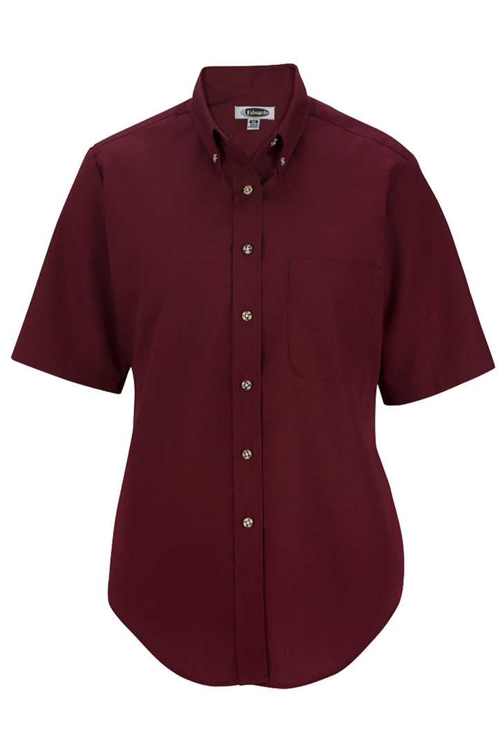 Women's Wine Easy Care Short Sleeve Poplin Shirt