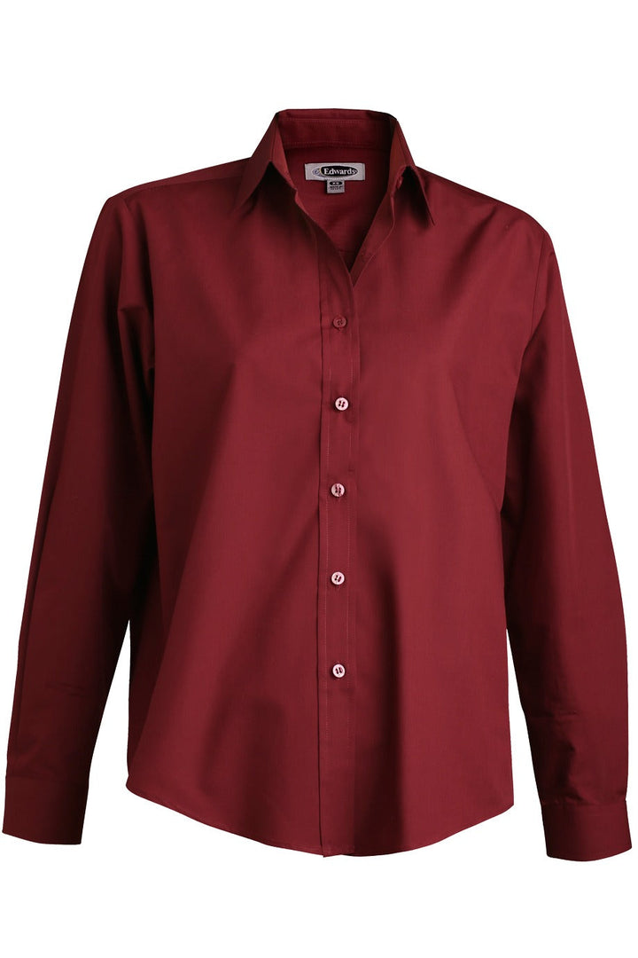 Women's Burgundy Long Sleeve Value Broadcloth Shirt