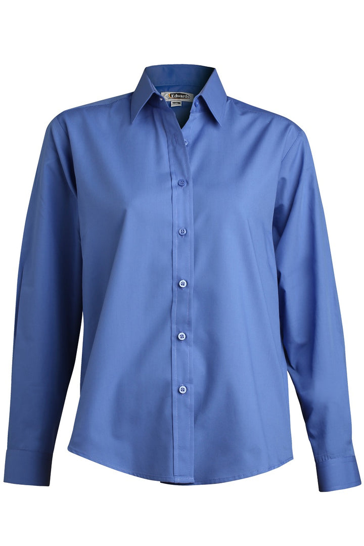 Women's French Blue Long Sleeve Value Broadcloth Shirt