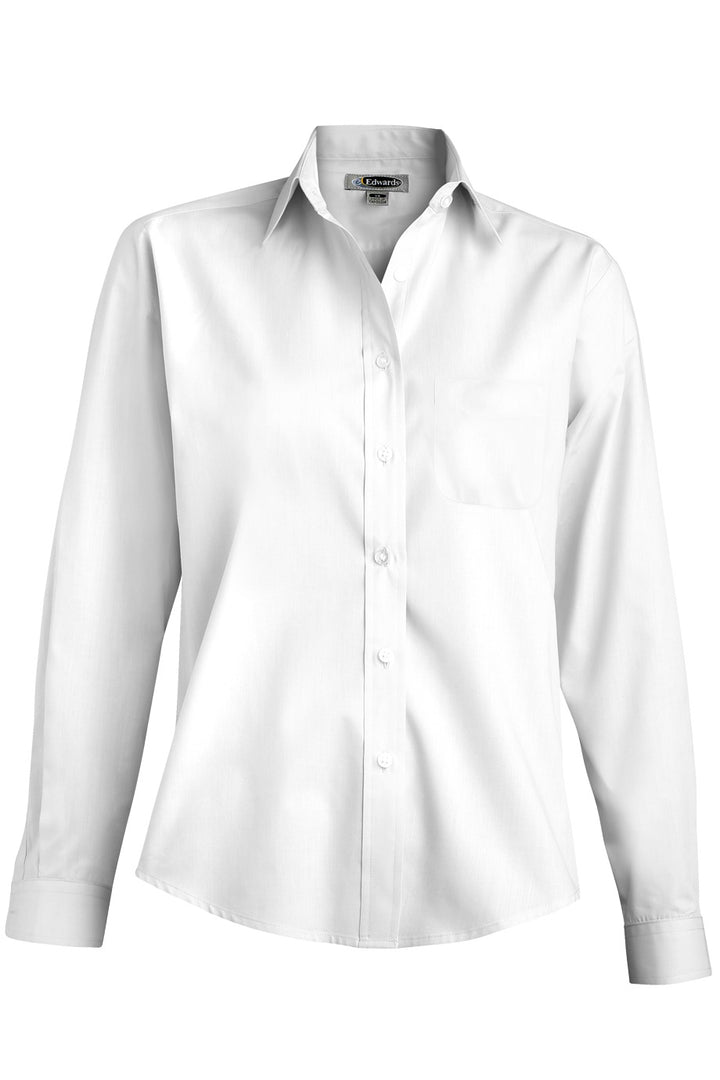 Women's White Long Sleeve Value Broadcloth Shirt