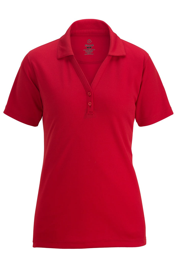 Women's Red Hi-Performance Mesh Polo w/ Johnny Collar
