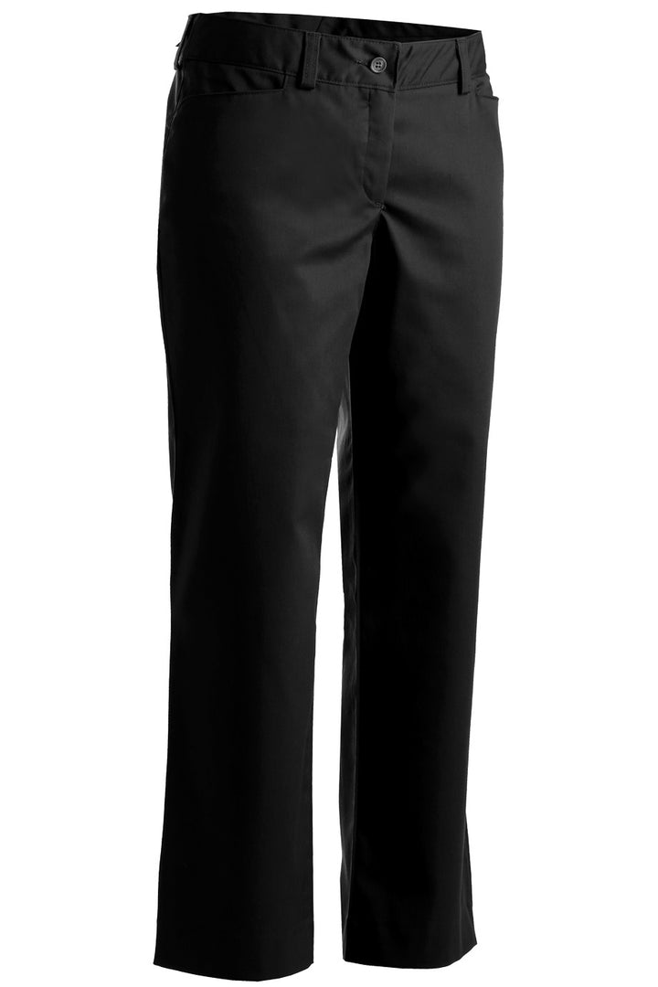Women's Black Mid-Rise Flat Front Rugged Comfort Pant