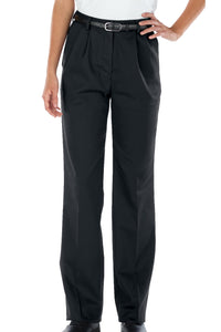Women's Black All-Cotton Pleated Pant