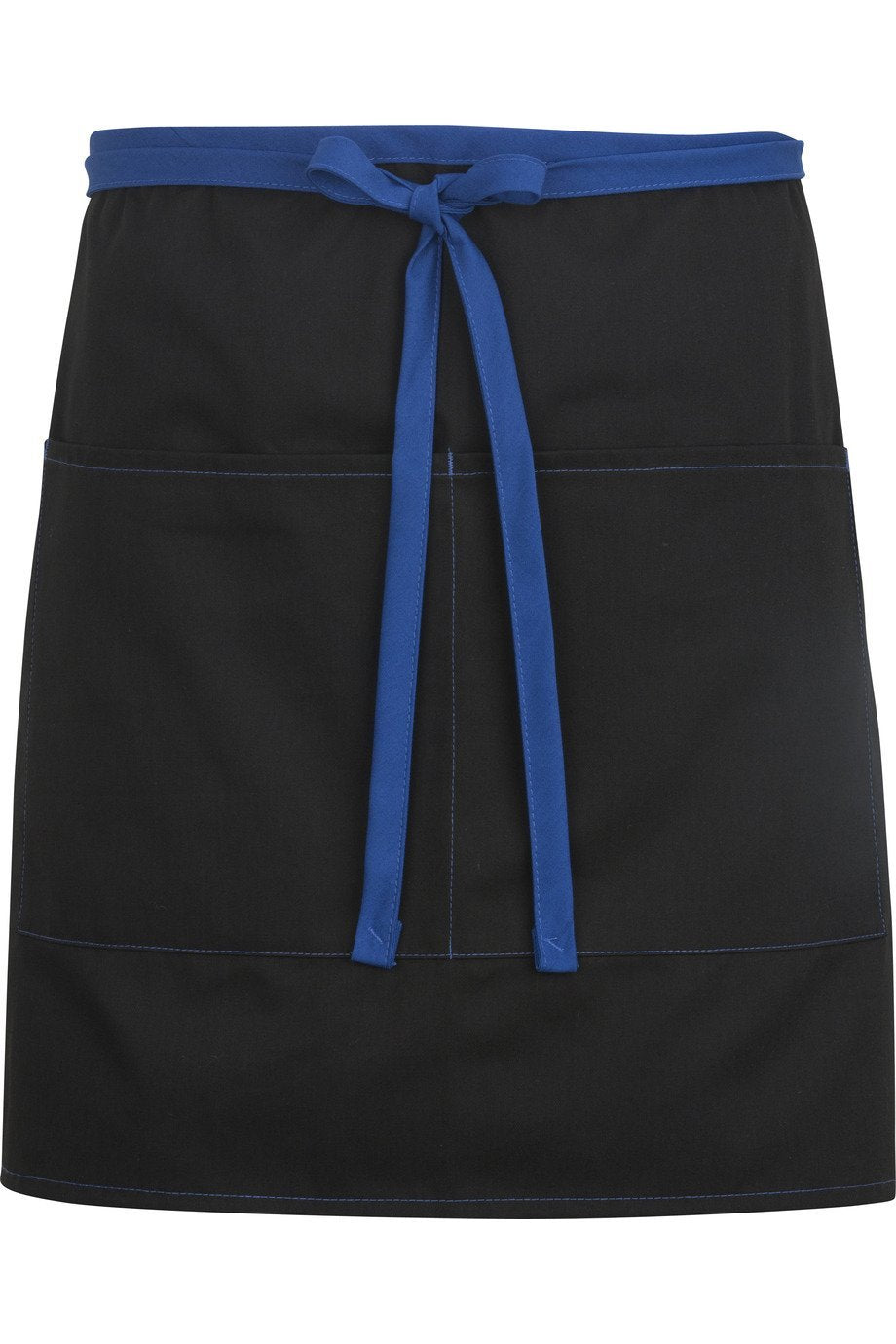 Black w/ Royal Blue Half Bistro Color Block Apron (2 Pockets)