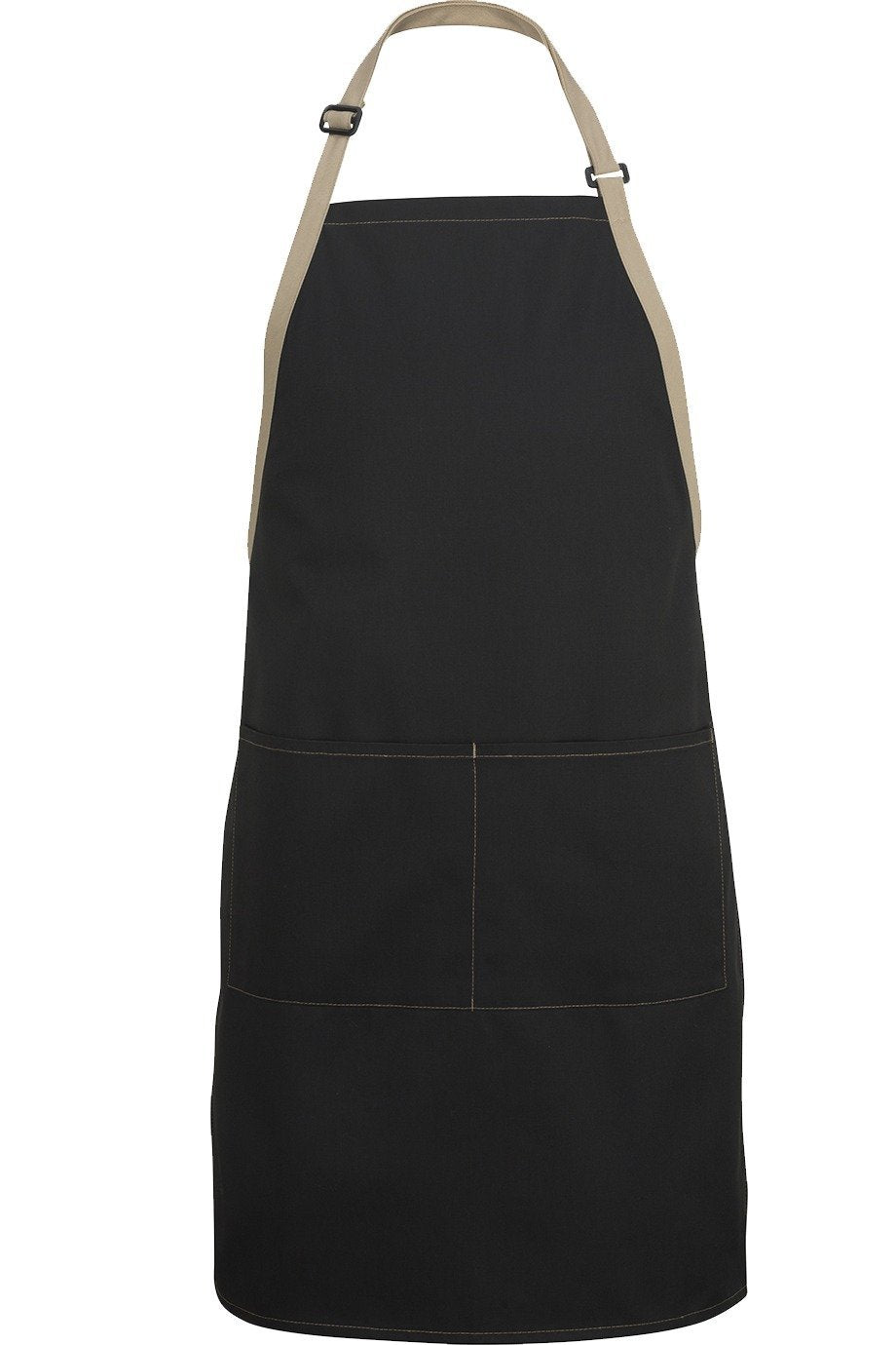 Black w/ Khaki Bib Color Block Adjustable Apron (2 Pockets)