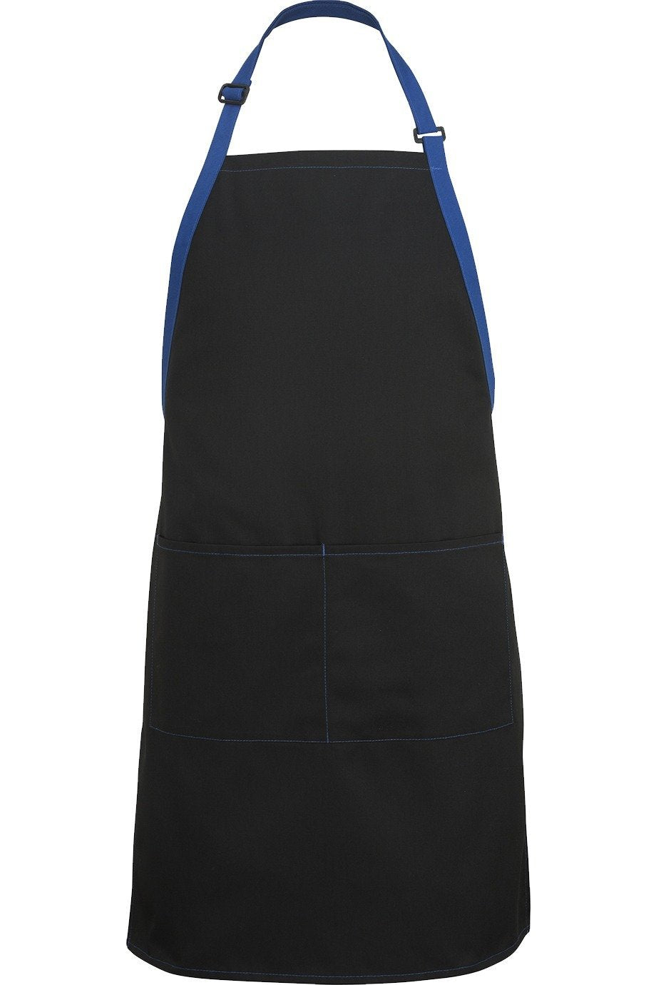 Black w/ Royal Blue Bib Color Block Adjustable Apron (2 Pockets)