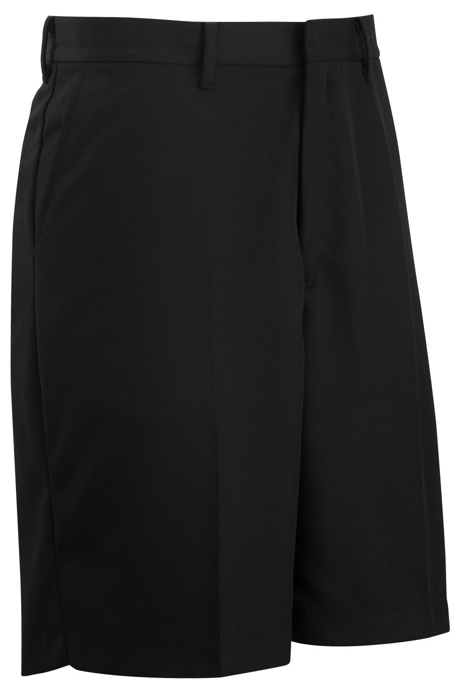 Men's Black Microfiber Flat Front Shorts