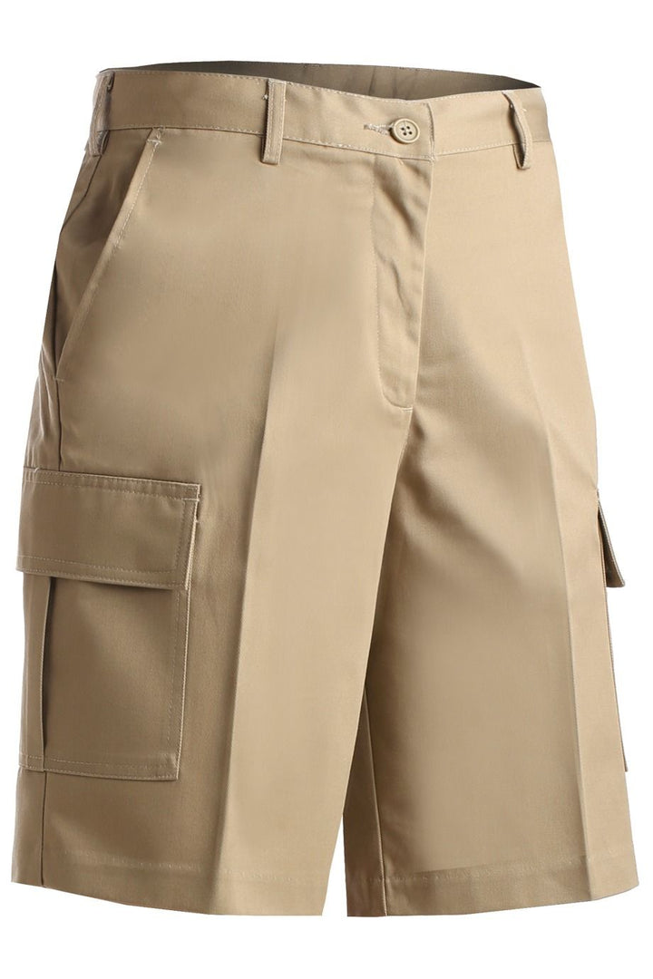 Women's Tan Flat Front Cargo Shorts
