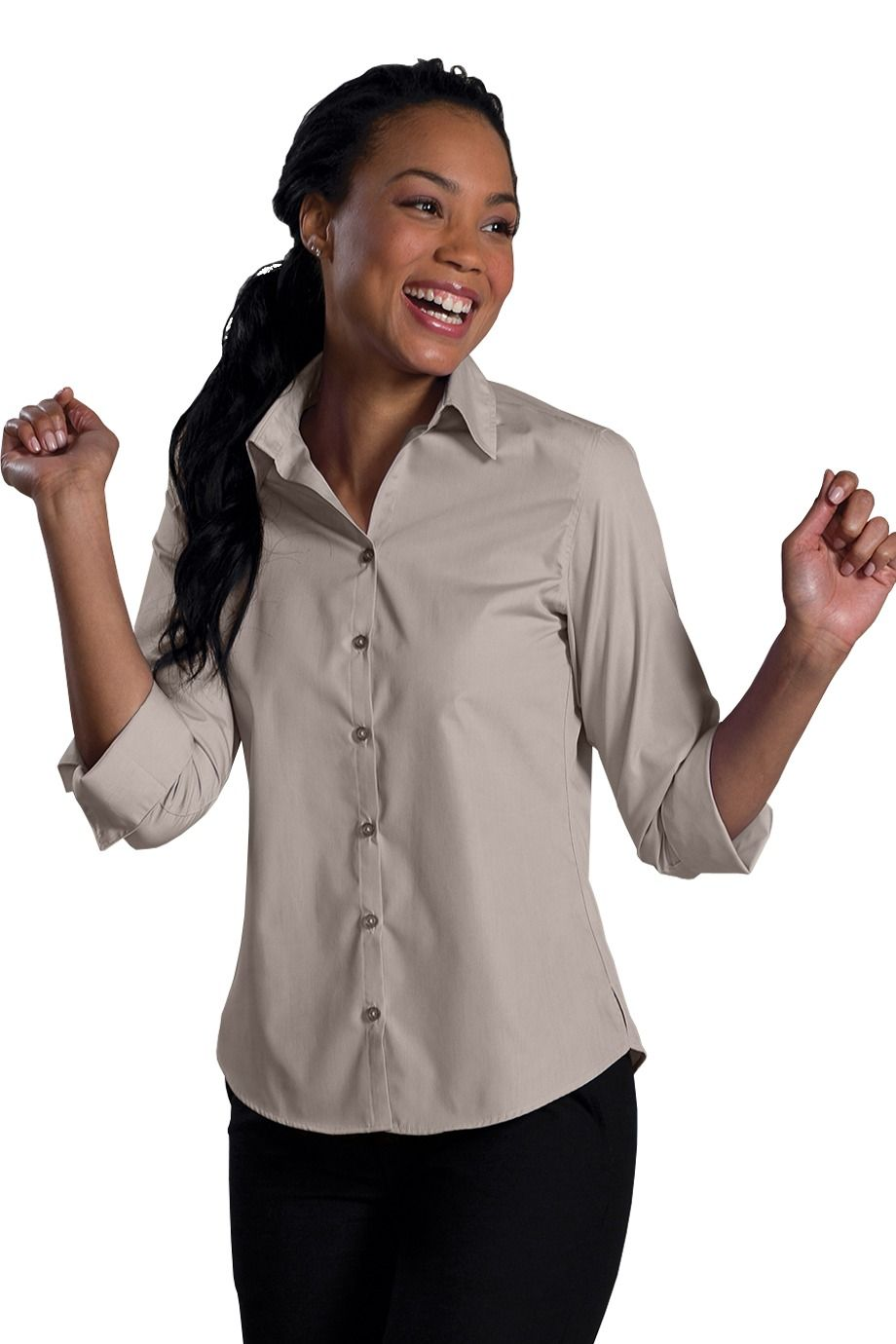 Women's Mocha Poplin 3-4 Open Neck Blouse