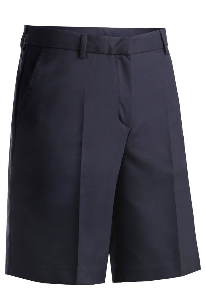 Women's Navy Microfiber Flat Front Shorts