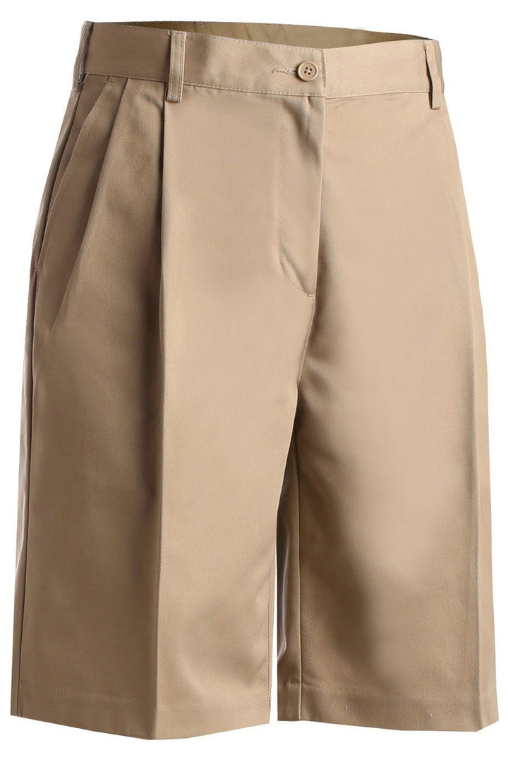 Women's Tan Pleated Utility Shorts