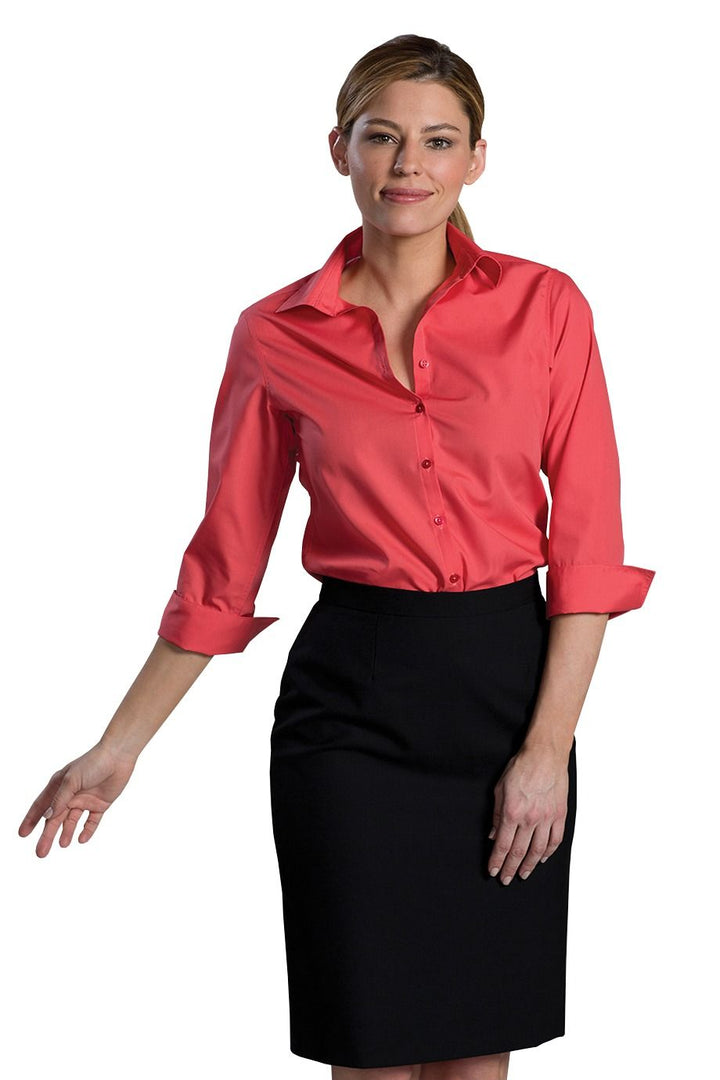 Women's Rose Poplin 3-4 Open Neck Blouse