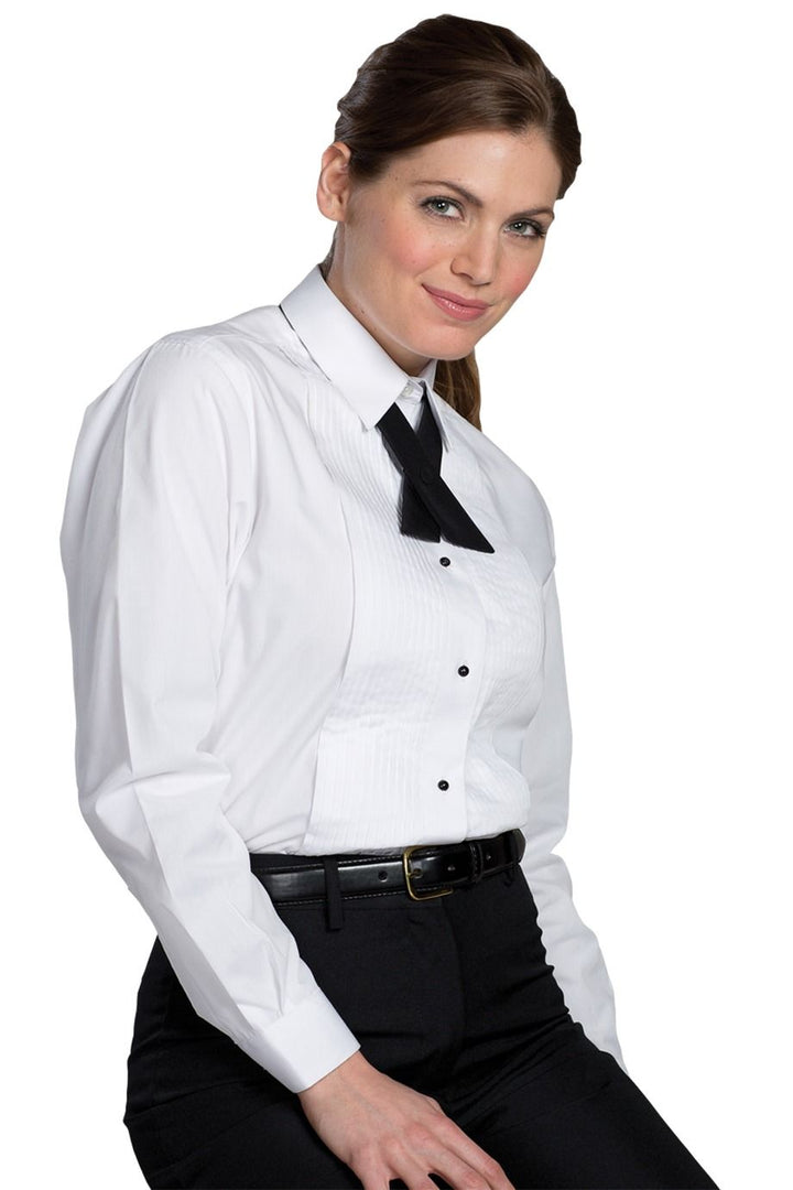 Women's White Tuxedo Shirt 1/4 Pleat