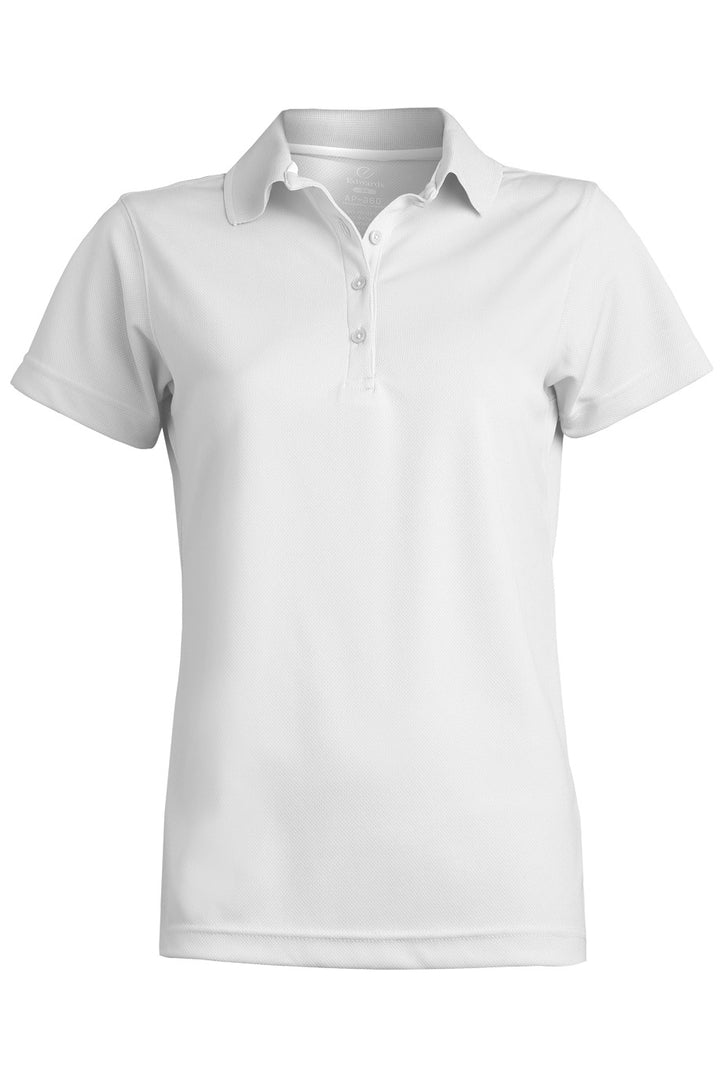 Women's White Blended Pique Short Sleeve Polo