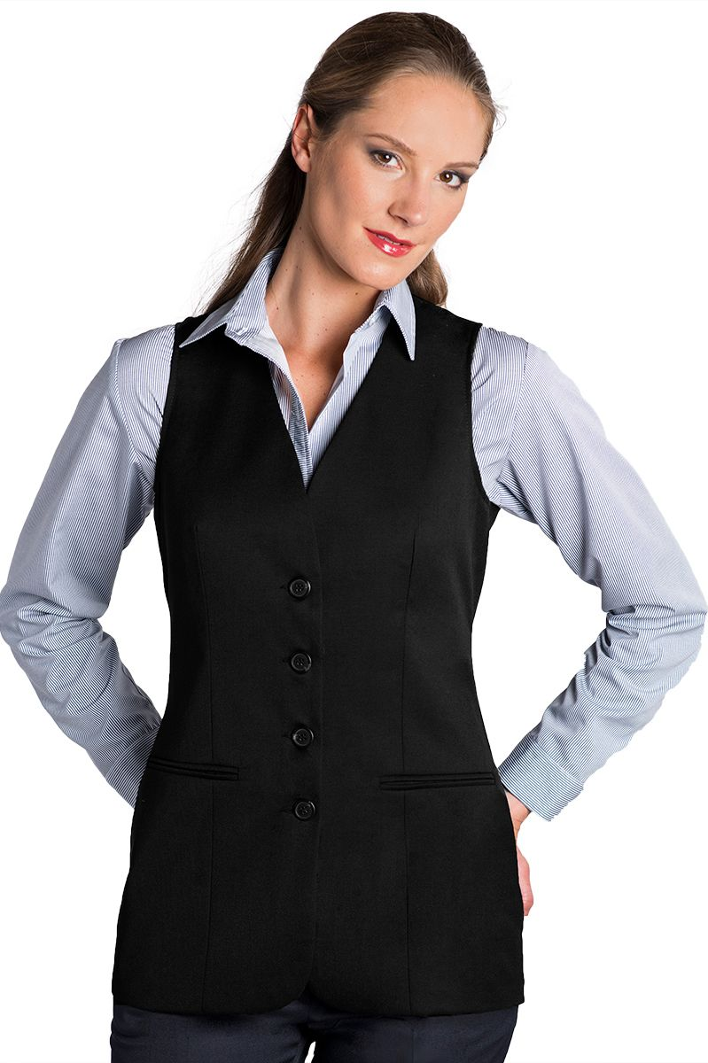 3c5de676935c Women's Black Easywear Long Vest Sleeveless Blazer – UniformsInStock.com