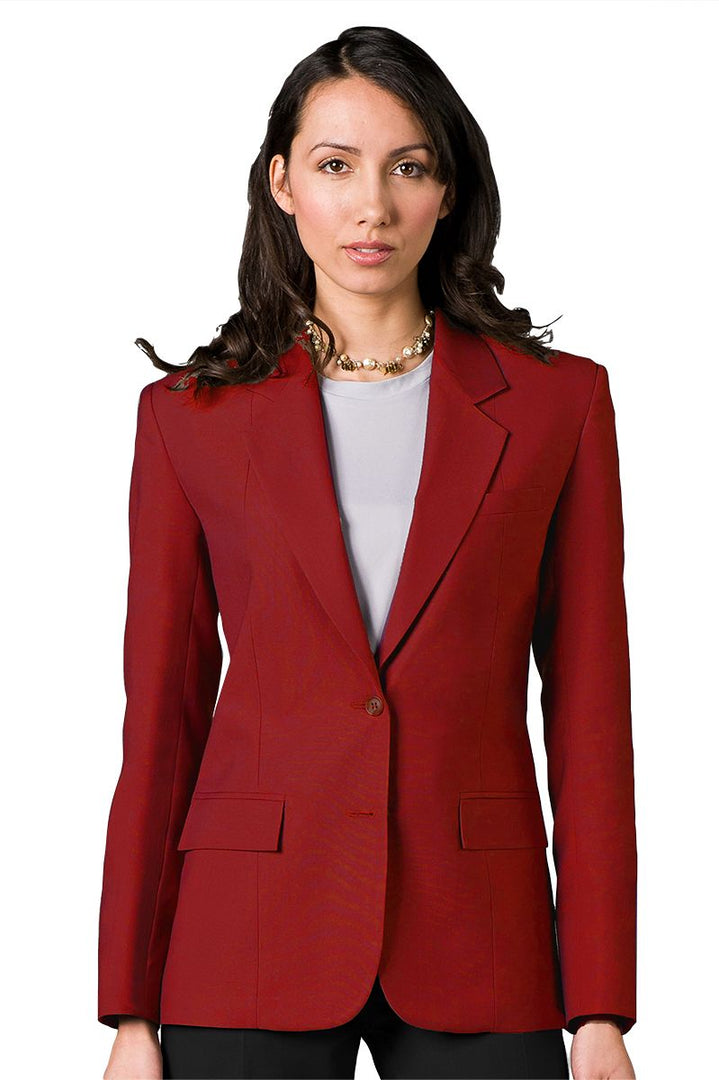 Women's Red Easywear Single Breasted 2-Button Blazer