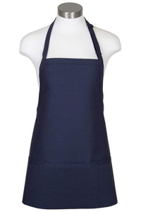 Navy Bib Adjustable Apron (3 Pockets)