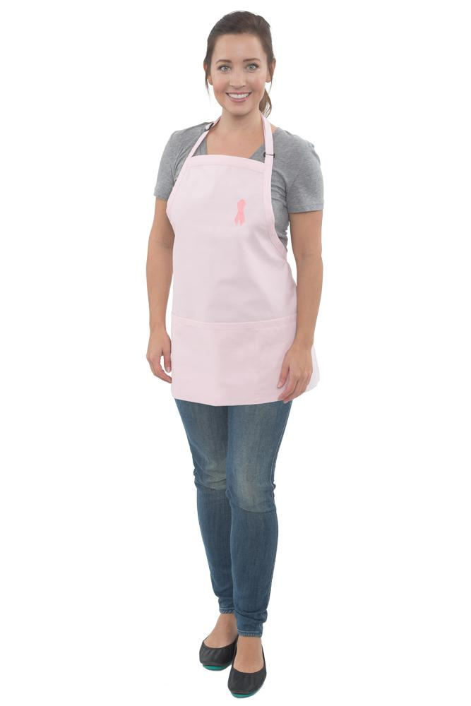 Pink Breast Cancer Awareness Bib Adjustable Apron (3 Pockets)