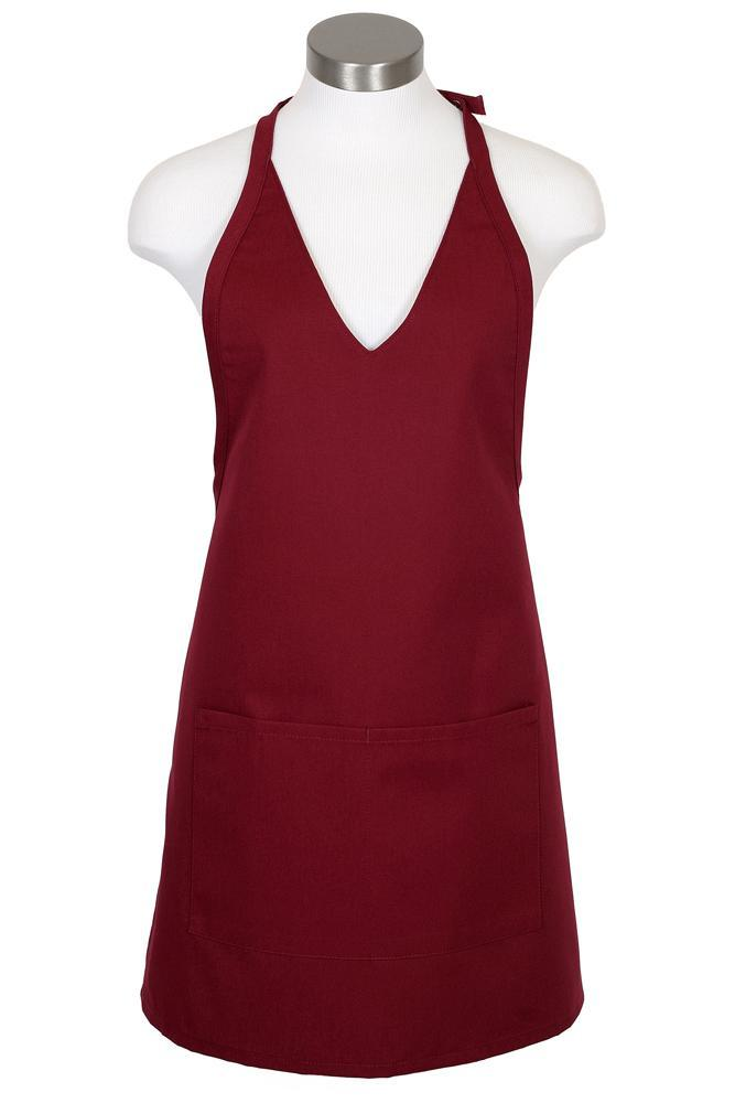 Burgundy V-Neck Bib Adjustable Apron (2 Patch Pockets)