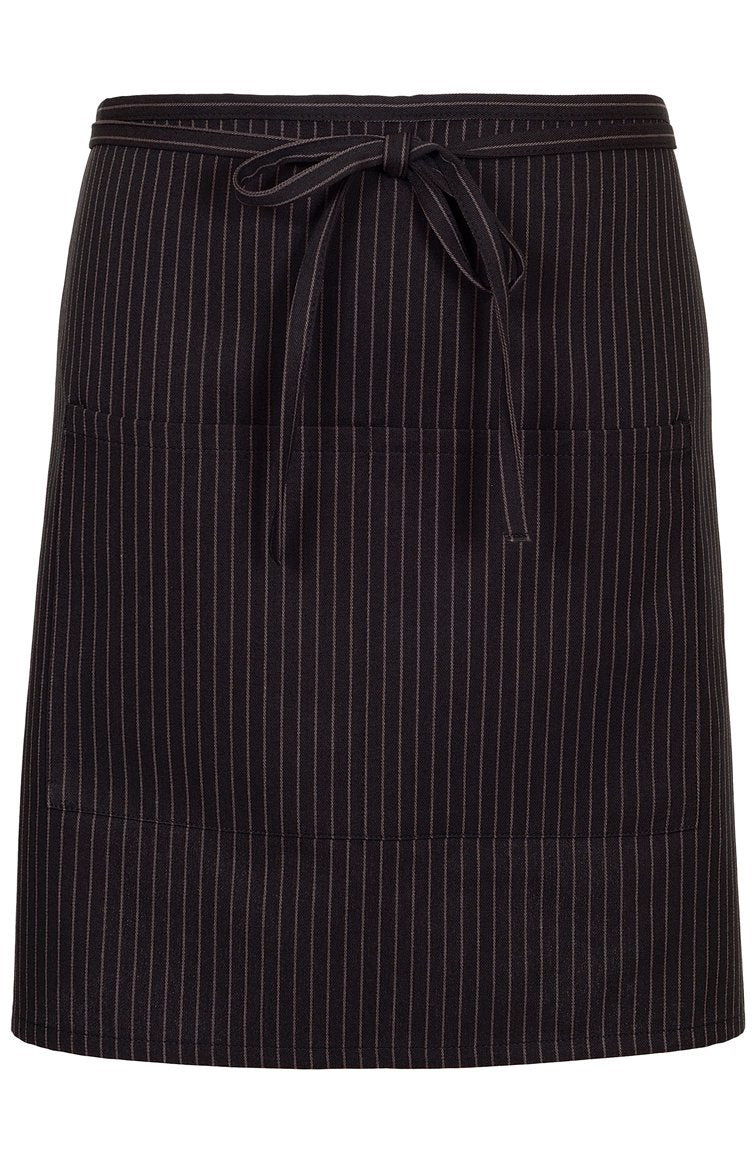 Charcoal Pinstripe Half Bistro Apron (2 Patch Pockets)