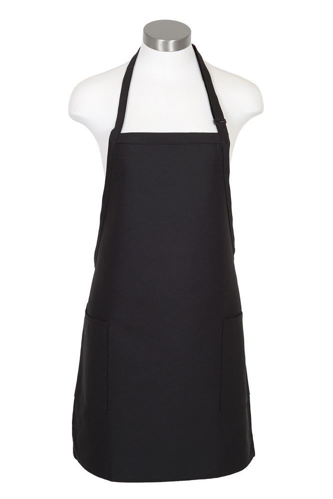 Black Bib Adjustable Apron (2-Patch Pockets)