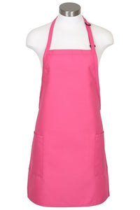 Raspberry Bib Adjustable Apron (2-Patch Pockets)