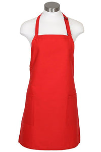 Red Bib Adjustable Apron (2-Patch Pockets)