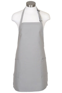 Silver Bib Adjustable Apron (2-Patch Pockets)