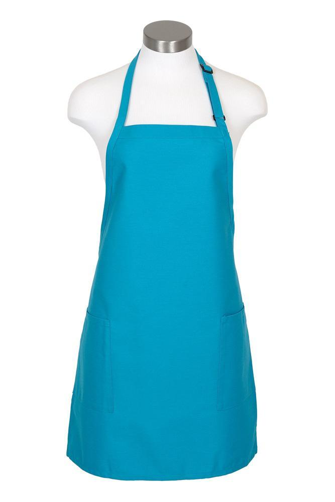 Turquoise Bib Adjustable Apron (2-Patch Pockets)