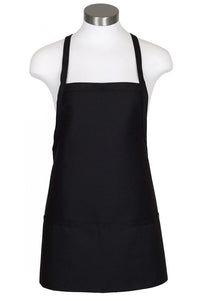 Black Criss Cross Bib Apron (3 Pockets)