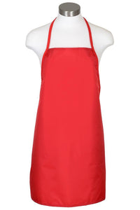 Red Water Repellant Bib Apron (No Pockets)