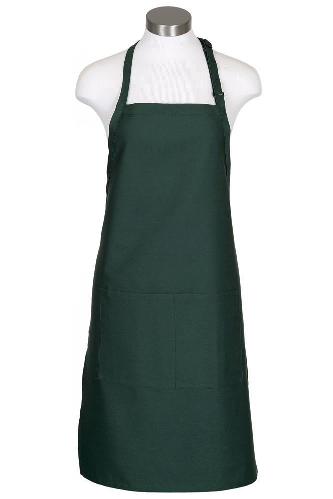 Hunter Green Bib Adjustable Apron (2 Pockets)