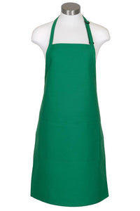 Kelly Green Bib Adjustable Apron (2 Pockets)