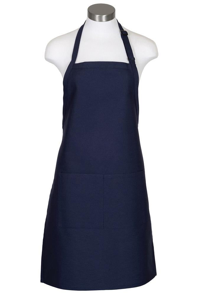 Navy Bib Adjustable Apron (2 Pockets)