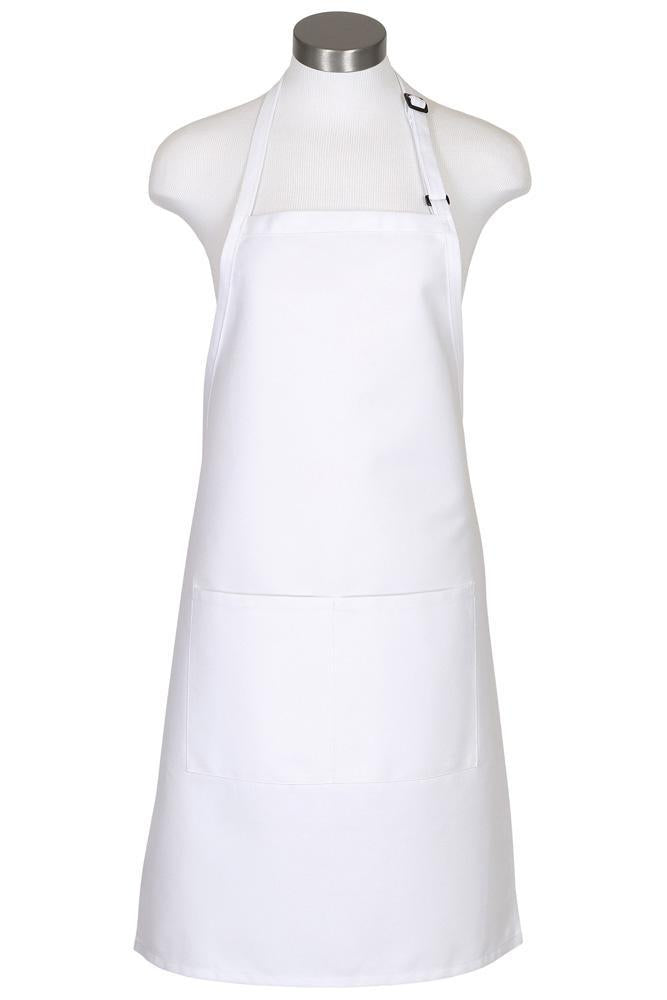 White Bib Adjustable Apron (2 Pockets)