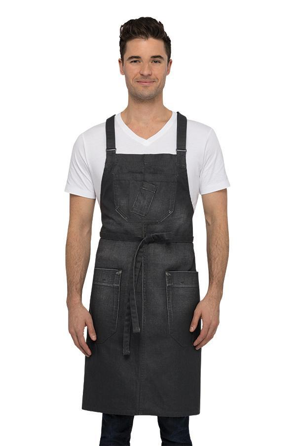 Galveston Cross-Back Grey Bib Apron
