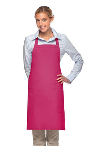 Hot Pink 2 Patch Pocket Adjustable Bib Apron