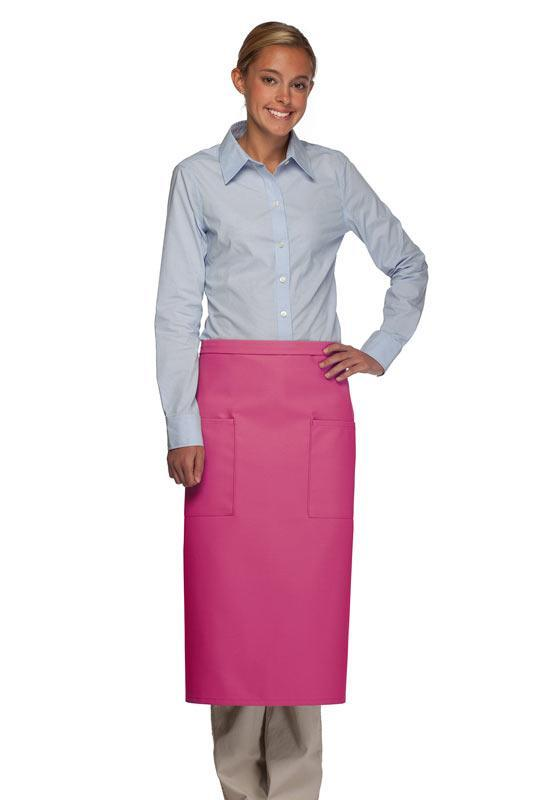 Hot Pink Full Bistro Apron (2 Pockets)