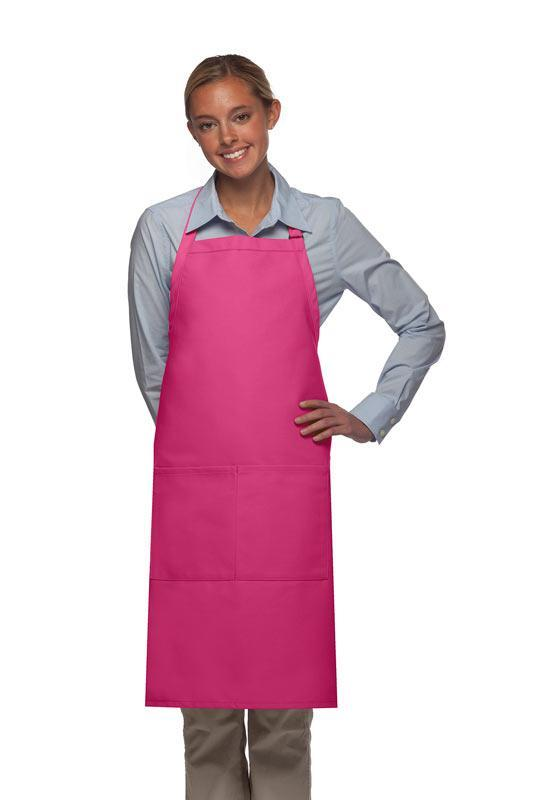 Hot Pink 2 Pocket Adjustable Bib Apron