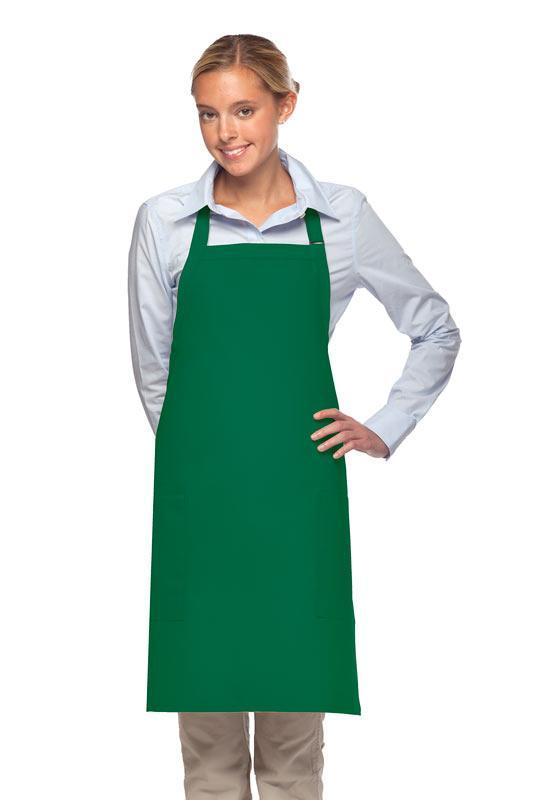 Kelly Green 2 Patch Pocket Adjustable Bib Apron