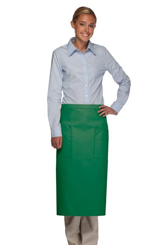 Kelly Green 2 Patch Pocket Full Bistro Apron