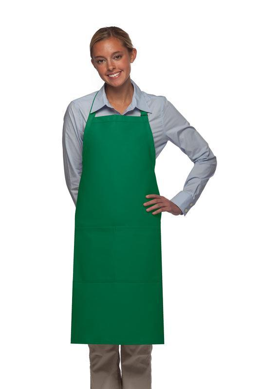 Kelly Green 2 Pocket Adjustable Bib Apron