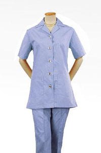 Women's Light Blue Short Sleeve Housekeeping Tunic Top