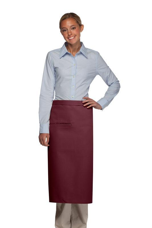 Maroon 1 Inset Pocket Full Bistro Apron