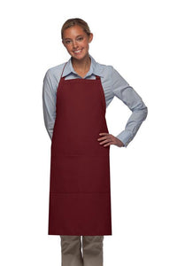 Maroon 2 Pocket Adjustable Bib Apron