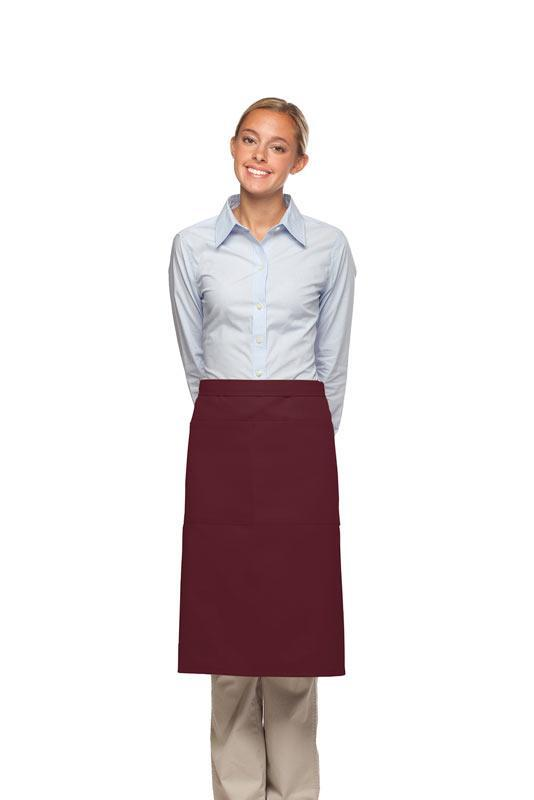 Maroon 2 Pocket Three Quarter Bistro Apron