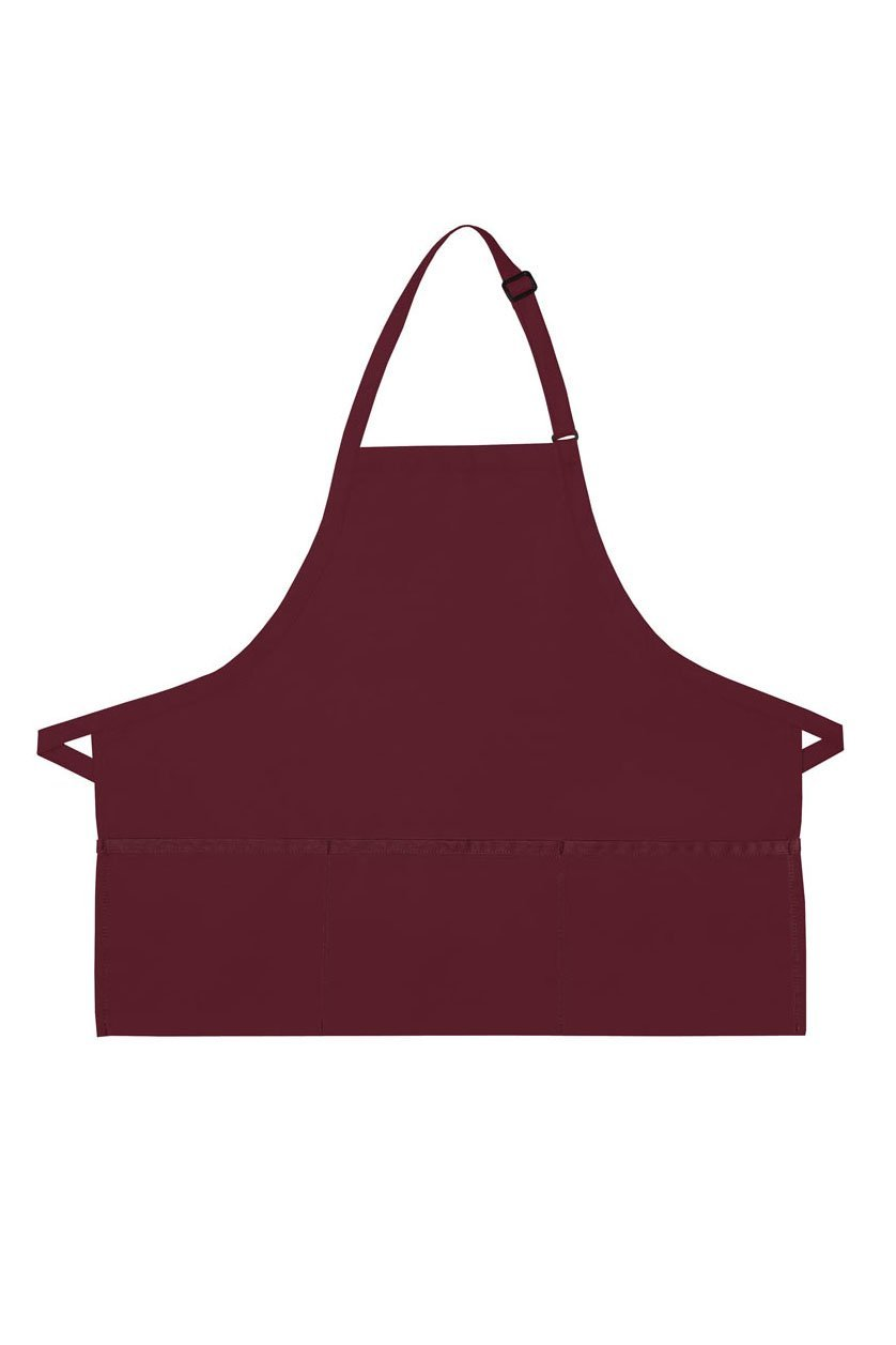 Maroon Deluxe Bib XL Adjustable Apron (3 Pockets)