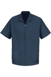 Navy Men's Zip-Front Smock